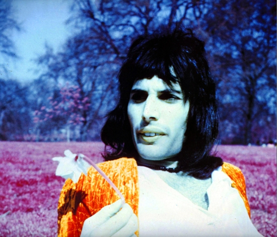 A Freddie solo photo session outside Buckingham Palace and in Regents Park in London in 1974. Photo by Joseph Stevens.