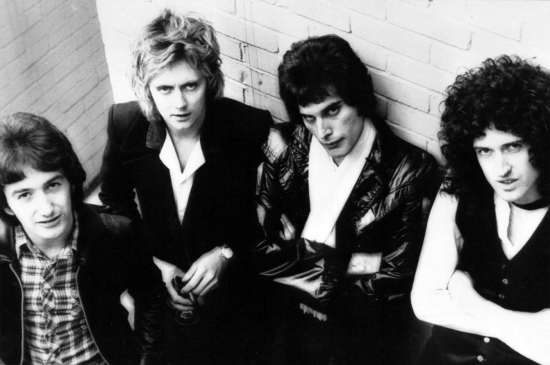 A publicity shot from 1977 for the 'News Of The World' album as requested by Gaius Augustus. He got to meet Brian and Roger at the Kerrang awards the other night - a dream fulfilled.