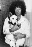 Brian May from Queen with Nipper - unknown location and date.