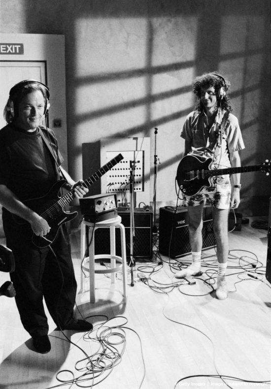 David Gilmour and Brian May recording at Metropolis Studios in Chiswick, London, for Rock Aid Armenia
