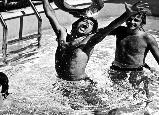 Freddie and Roger at the swimming pool