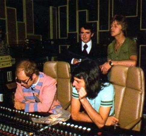 Freddie Mercury and Elton John at Marquee Studios, 1976