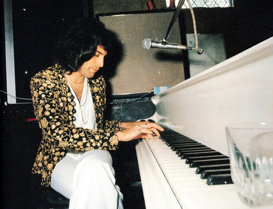 Freddie Mercury playing piano, 1975