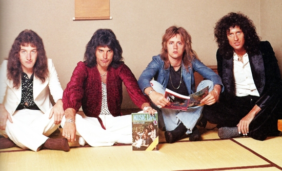 In Tokyo on Queen's first tour of Japan in April 1975, photographed by Koh Hasebe.