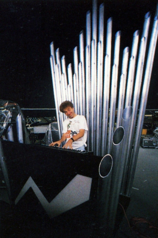 John back stage on the 'Magic' tour of Europe in Summer 1986 on the keyboard that was never used.