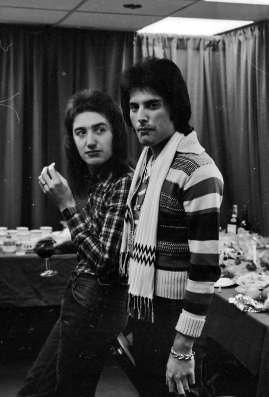John Deacon and Freddie Mercury backstage at the Montreal Forum, 26th January 1977
