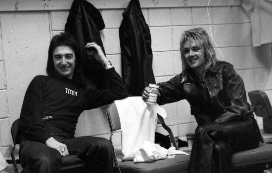 John Deacon and Roger Taylor backstage at the Montreal Forum, 26th January 1977