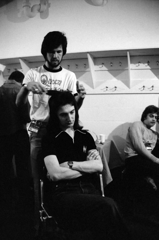 John Deacon backstage at the Montreal Forum, 26th January 1977