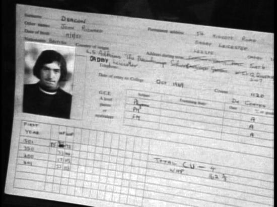 John's school record. Screen capture of documentary The Magic Years