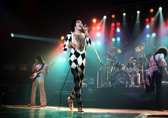 Queen on the 'A Day At The Races' tour in Copenhagen, Denmark on 12th May 1977. Photo by Jan Persson.