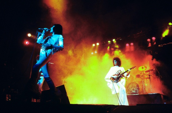 Queen on the UK 'A Night At The Opera' tour on 29 November 1975. Photo by Andrew Putler.