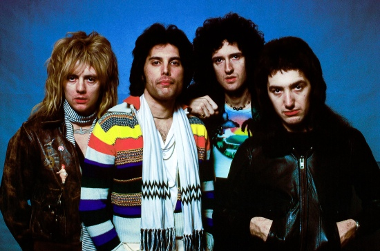Queen photographed on the USA tour in early 1977 by Richard E. Aaron.