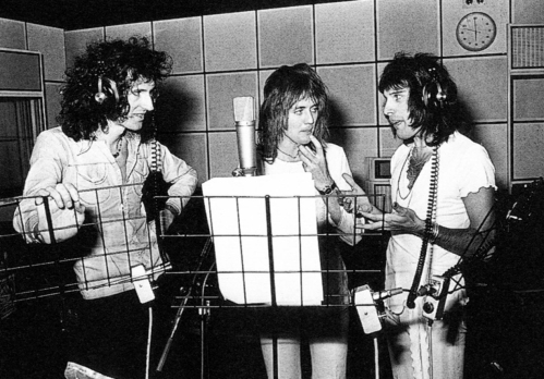 Queen recording the 'A Night At The Opera' album in 1975. Photo by Mick Rock.
