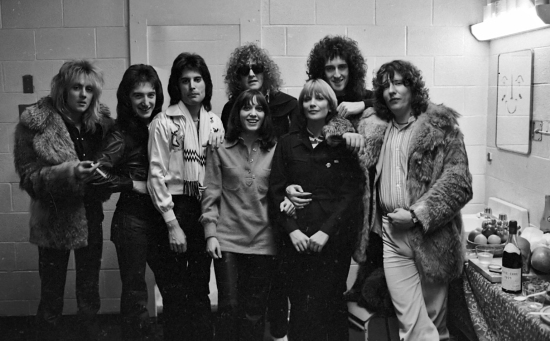 Queen with Ian Hunter of Mott the Hoople and music producer Roy Thomas Baker at the Montreal Forum, 26th January 1977