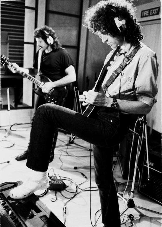 Tony Iommi and Brian May  recording at Metropolis Studios in Chiswick, London, for Rock Aid Armenia