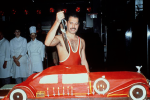 Freddie celebrating his 38th birthday in 1984 at London's Xenon night club by cutting a five-foot-long birthday cake baked to look like a vintage Rolls Royce.