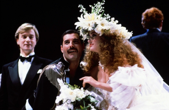 Freddie Mercury and Jane Seymour at the Fashion Aid show in aid of African famine relief, UK, 6th November 1985