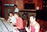 Freddie Mercury and Mack in studio