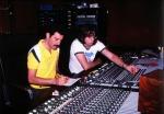 Freddie Mercury and Reinhold Mack in studio (Photo by Peter Hince)