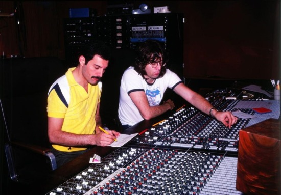 Freddie Mercury and Reinhold Mack in studio (Photo by Peter Hince)