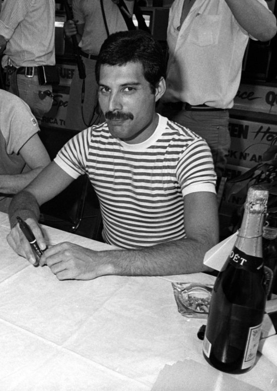 Freddie Mercury at Crazy Eddies record store in New York, USA in July 1982
