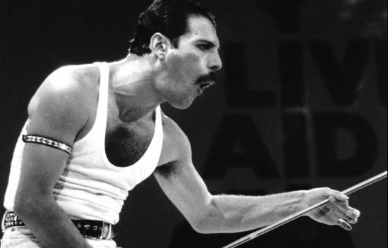 Freddie Mercury at Live Aid, 1985