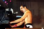Freddie Mercury at Wembley Arena in London on 7th September 1984