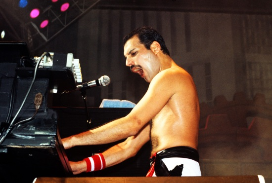 Freddie Mercury at Wembley Arena in London on 7th September 1984