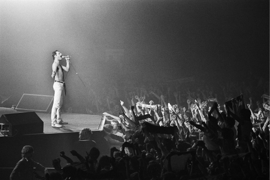 Freddie Mercury live at the Groenoordhallen in Leiden, Holland, 1982