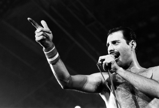 Freddie Mercury performing on stage on his 38th birthday (Wembley Arena, 1984)