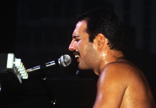 Freddie Mercury performs at Wembley Arena in London on 7th September 1984