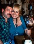 Freddie Mercury with Barbara Valentin (his lover) in Munich, 1984