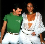 Freddie Mercury with Biba, a Brazilian model, at Rock in Rio 1985