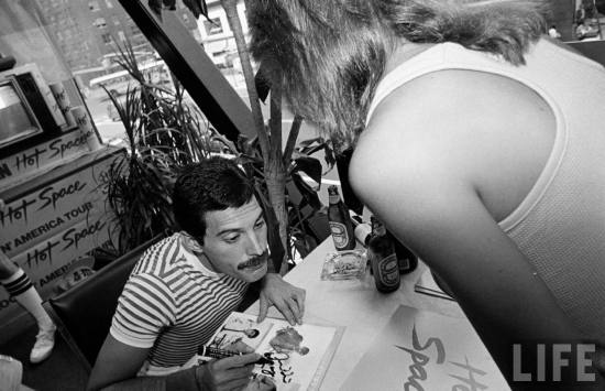 Freddie Mercury with fan