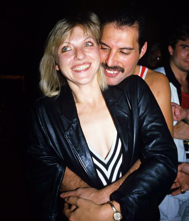 Freddie with Mary Austin. Mercury's 38th Birthday party at Xenon in London