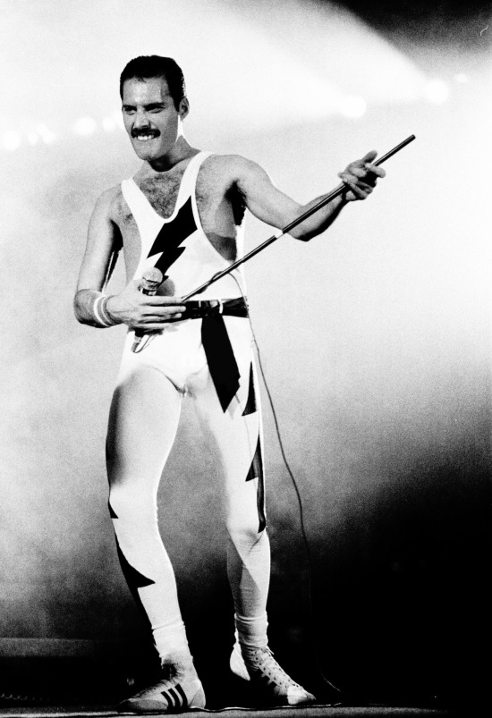 Freddie performing at Wembley Arena on his 38th birthday, September 5th 1984 - The Works Tour