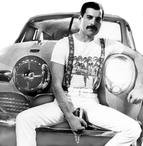 Freddie sitting on car