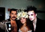 Freddie with Jane Seymour and Boy George at Fashion Aid, 1985