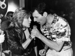 Freddie with Samantha Fox during a party at Kensington Roof Gardens in London, 12th July 1986 (1)