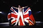 Freddie with the British flag