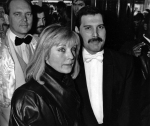 Jim Beach, Mary Austin and Freddie Mercury at an after-party in London for 'Dave Clark's Time - The Musical', 9th April 1986