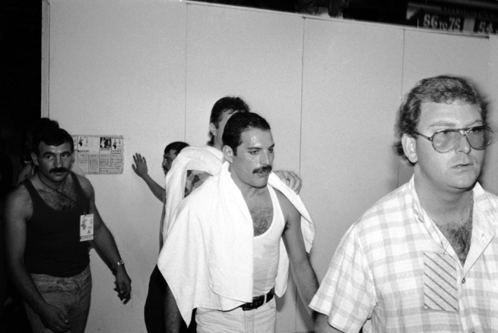 Jim Hutton, Freddie Mercury and Terry Giddings, Live Aid 13.07.1985