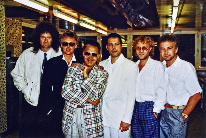 Brian May, Roger Taylor, Claude Nobs, Freddie Mercury, David Richards and John Deacon