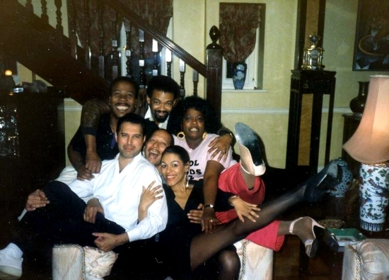 Freddie and the London cast of Blues in the Night (with Peter Straker), 1988