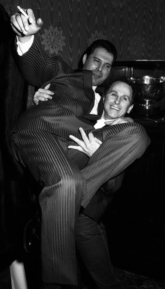 Freddie Mercury and Wayne Sleep at party for musical '42nd Street'