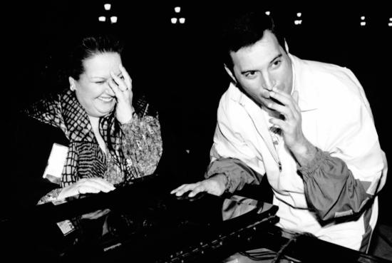 Freddie Mercury and Montserrat Caballe in studio