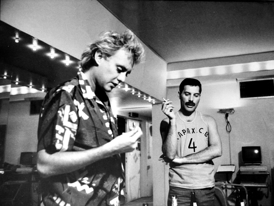 Freddie Mercury and Roger Taylor in Musicland Studios, 1985