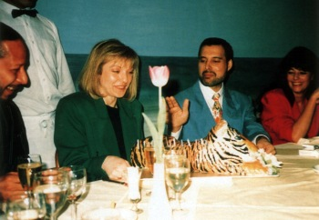 Peter Straker, Mary Austin, Freddie and Dominique Beyrand (Roger's wife)
