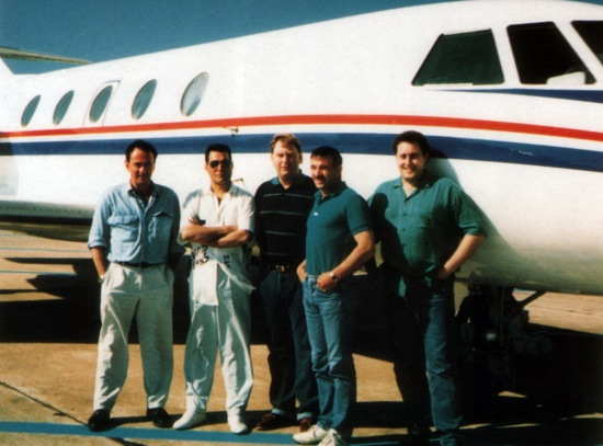 Graham Hamilton, Freddie, Terry Giddings, Jim Hutton and Peter Freestone (They were flying to Ibiza, 1987)