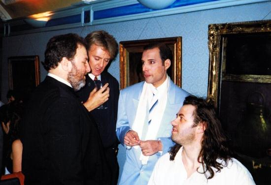 Harvey Goldsmith-roger-taylor-freddie-mercury-and-bob-geldof-in-1990